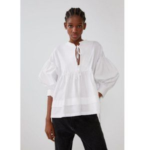 Zara Cottagecore Puff Sleeve Tie Peasant Blouse